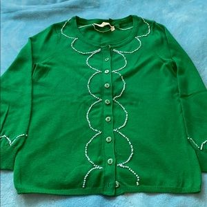 Anthropologie green cardigan XS